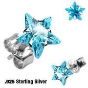 Серьги из серебра 925 пробы с синим фианитом в форме звезды