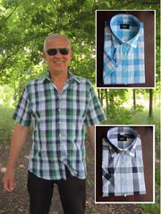 Мужская рубашка в клетку с коротким рукавом,  приталенная.