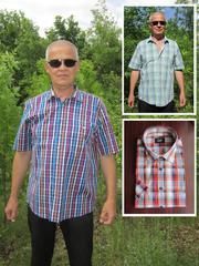 Мужская рубашка в клетку с коротким рукавом.