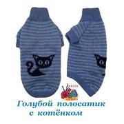 Свитер сфинксу голубой с Котенком